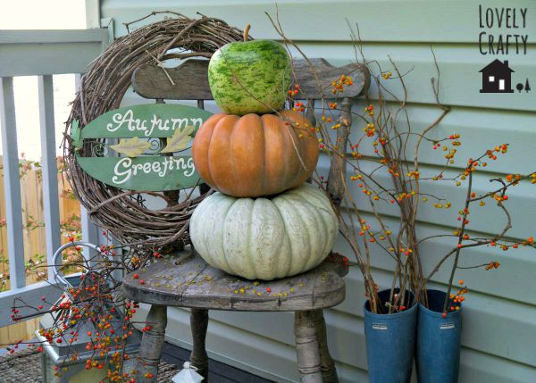 Pumpkin Topiary Front Porch