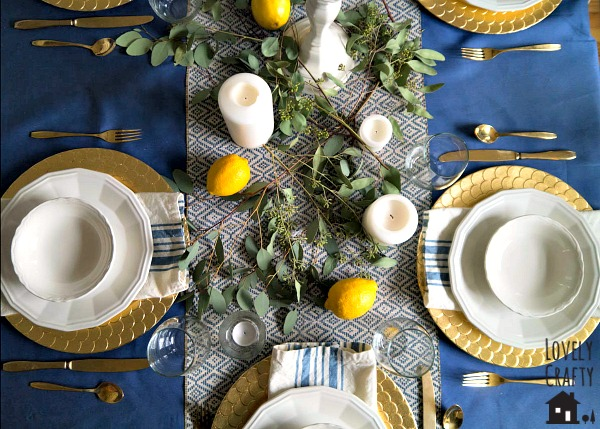 Lemon and Candle Table Setting
