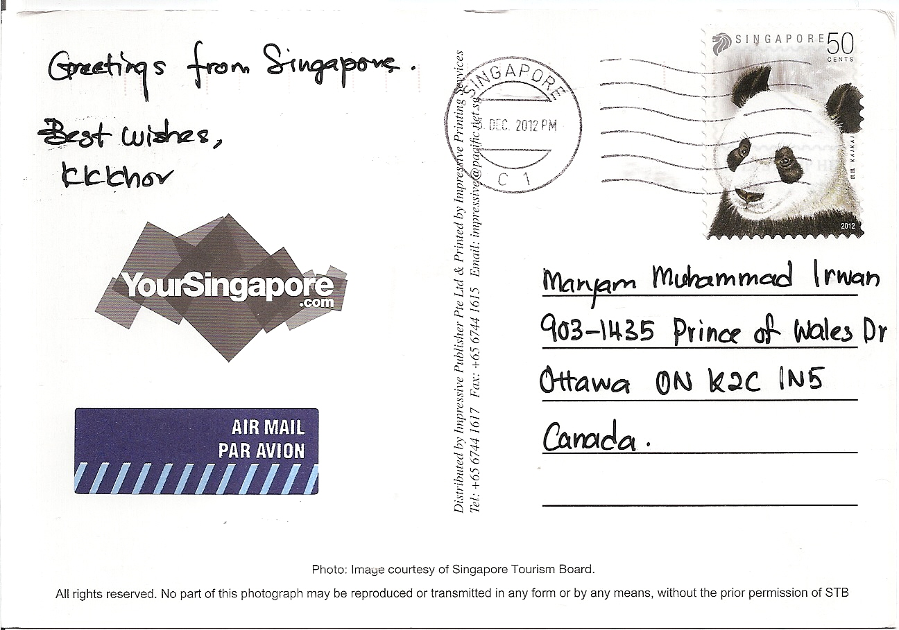 Encouraging Singapore Postcard From Singapore Letters Postcards Maryam Postcard Stamp Price 2018 Post Card Stamp Price inspiration Post Card Stamp