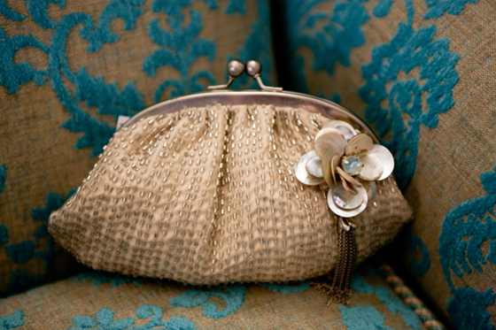 Shell and sequin adorned clutch purse from Accessorize...