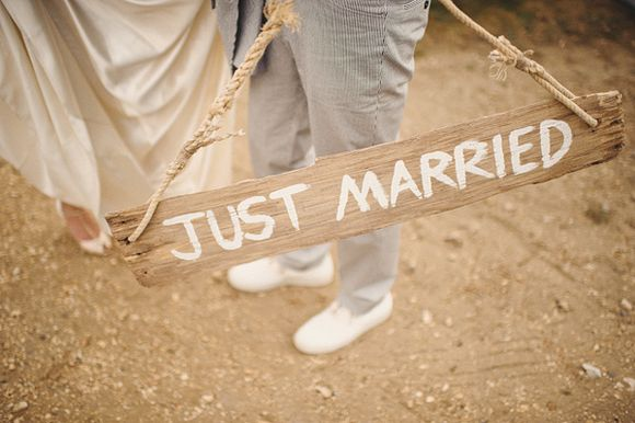 Rustic Just Married Sign, Ed Peers Photography