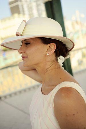 Vintage wide brim bridal hat