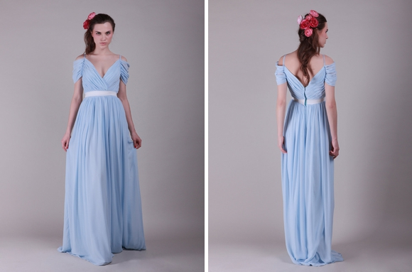 For Her And For Him long pale blue bridesmaids dress