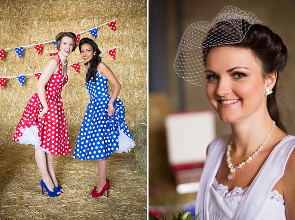 1950s Farm Wedding, polka dot bridesmaids dresses