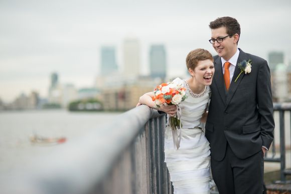Orange, Peach, Gold, Blue and a Tiered Rachel Gilbert Gown for an East London Wedding (Weddings )