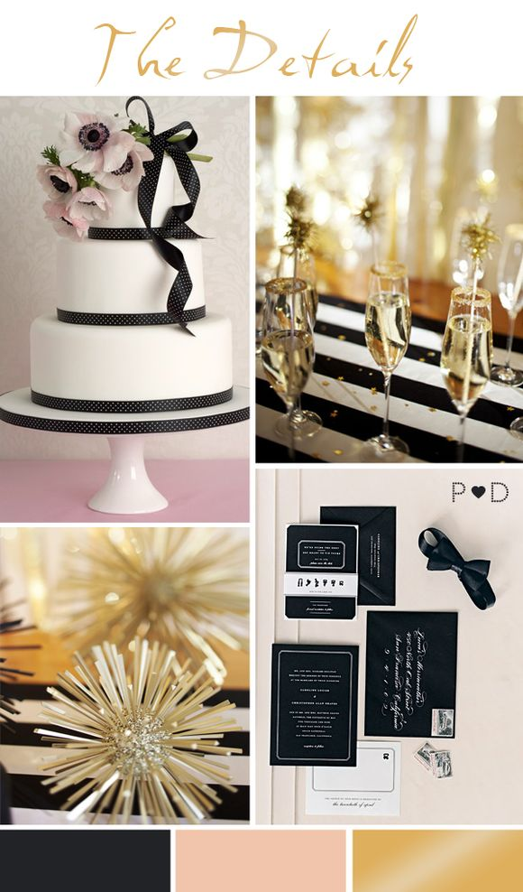 Bridal Inspiration Board #51 ~ How to Throw A New Year's Eve Wedding (Mood + Inspiration Boards )