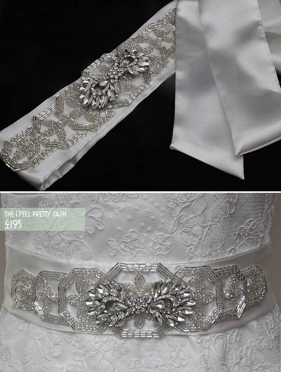 Sparkly vintage inspired wedding hairbands cuffs sashes and accessories by Flo & Percy