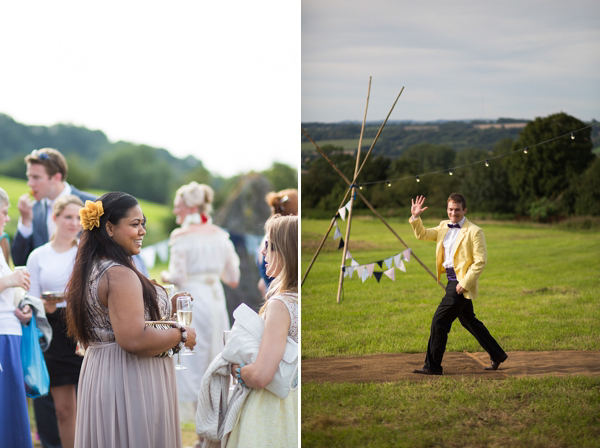 Eco friendly wedding dress by Minna Designs for an outdoor Somerset field and tents wedding