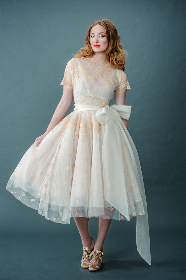 Femmes Fatale and French Fancies ~ Tinted Lace and Tea Length Wedding Dresses by Joanne Fleming Design (Bridal Fashion )