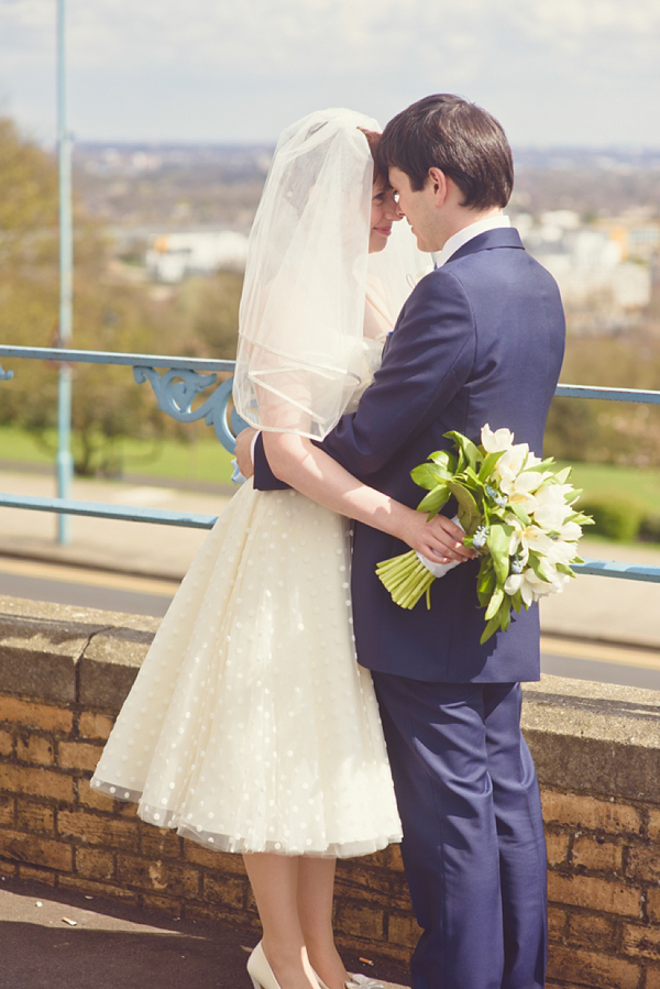 Polka dot 50s style wedding dress Islington Town  Hall Wedding