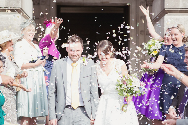 A Relaxed, Homemade Wedding With Bursts of Purple And Yellow And a Canine Guest Of Honour! (Weddings )