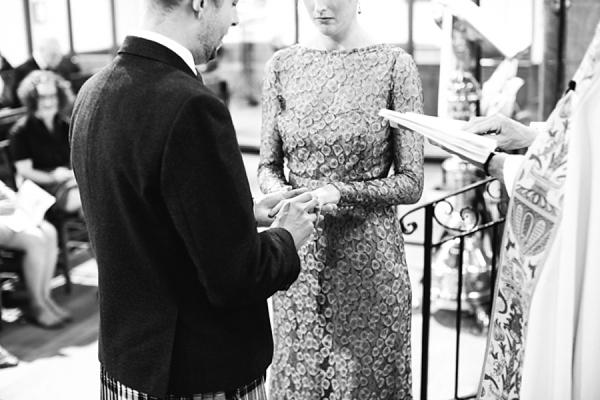 Gold Issa wedding dress, Edinburgh wedding, Caro Weiss Photography