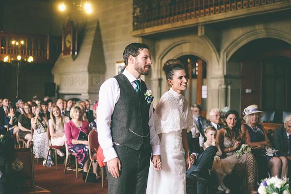 A Beautiful Caped Wedding Dress For A Vintage Inspired School Wedding (Weddings )