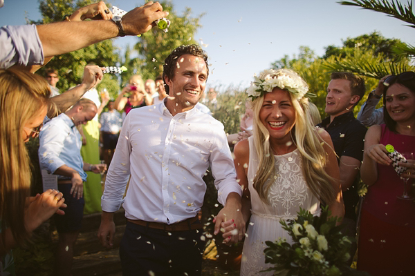 A Bougainvillea and Olive Leaf Floral Crown For a Fun And Colourful Spanish Fiesta Wedding (Films Weddings )