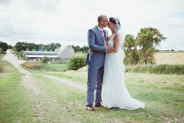 A Juliet Cap Veil and Raimon Bundo Gown For An Elegant English Country Barn Wedding (Weddings )