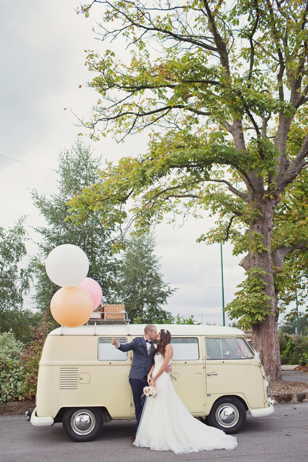 Miles of Tulle, Wooden Bow Ties and Big Balloons for a Romantic Blush Pink Wedding (Weddings )