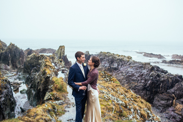 A Velvet Jacket and 1930's Inspired Slinky Silk Dress For A Cornish Coast Wedding (Weddings )