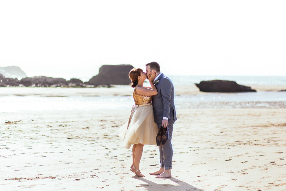 An Incredible Sequinned Vintage Dress for an Intimate Cornish Beach Wedding (Weddings )