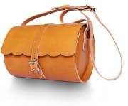 tan scallop galway barrel bag