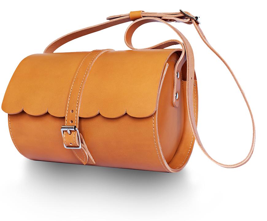 tan scallop galway barrel bag
