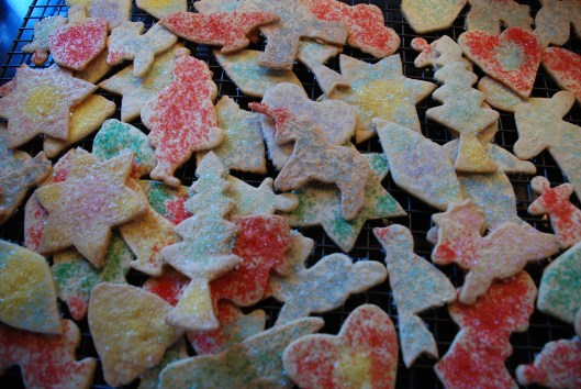 Colorful holiday sugar cookies.