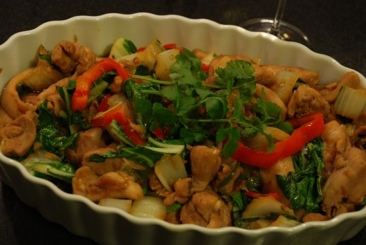 Chicken thighs with bok choy and red pepper in a white dish. Chicken teriyaki disaster.