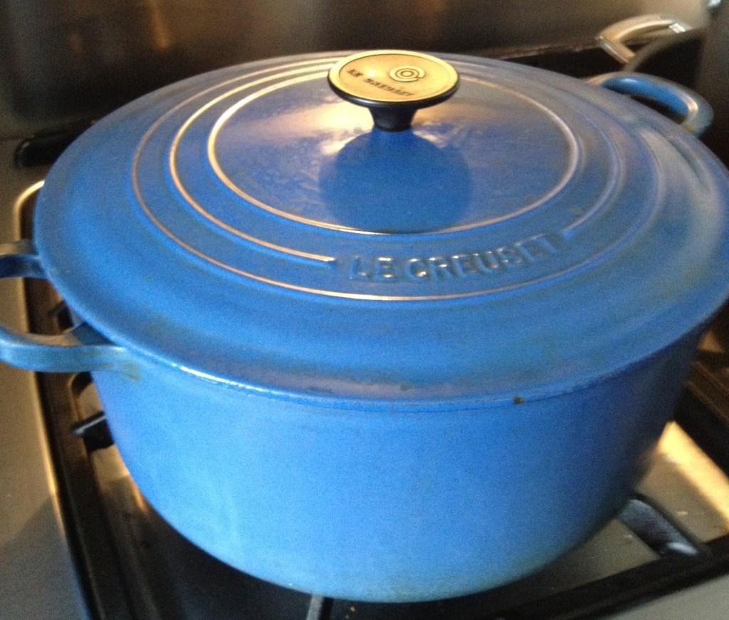 Blue Le Creuset pot.