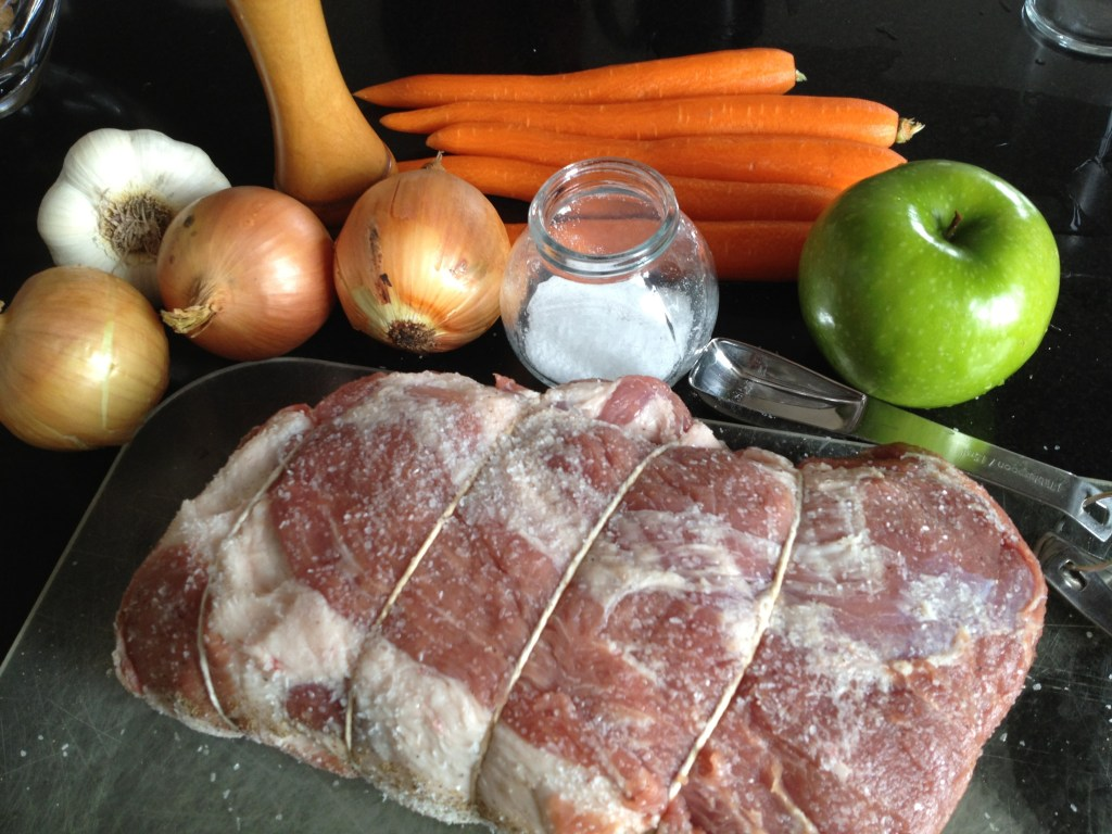 Pork roast ingredients.