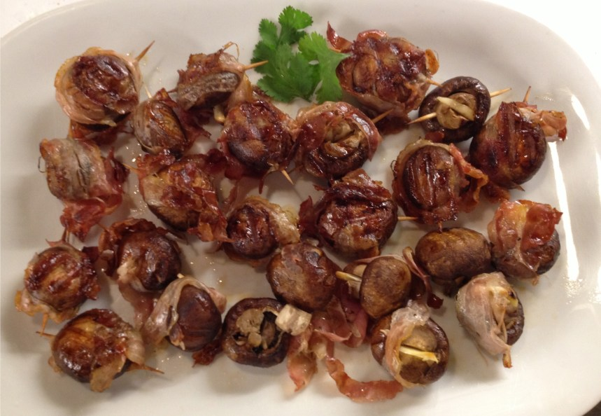 Pancetta-wrapped grilled mushroom appetizer from Food and Wine magazine.
