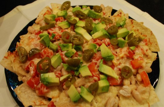 Super easy nachos with avocados.