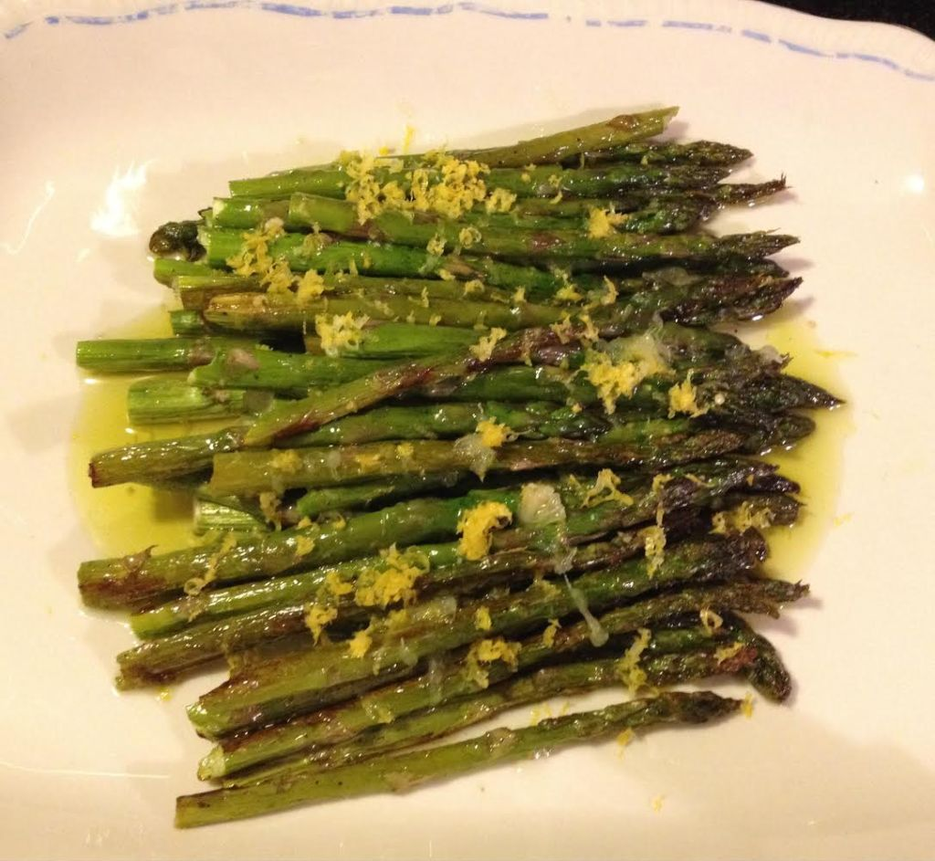 Olive oil and lemon roasted asparagus.