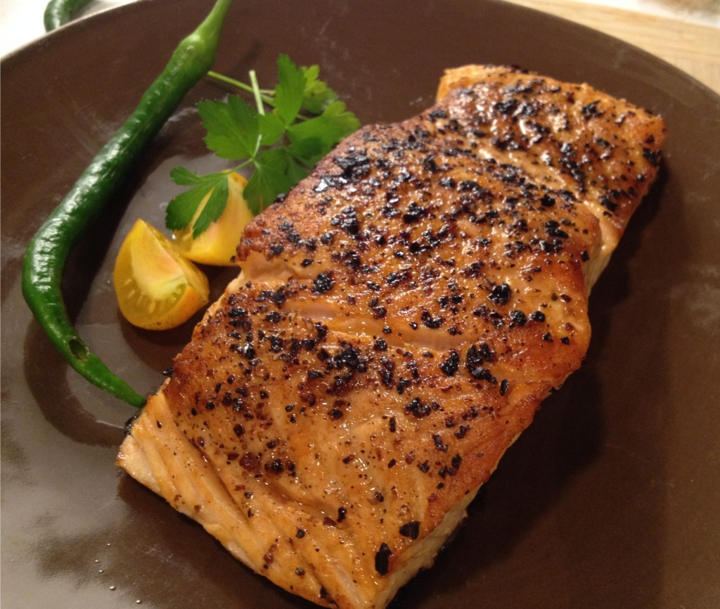 Smoulder on roasted salmon.