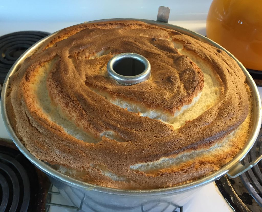 Angel food cake done in pan.
