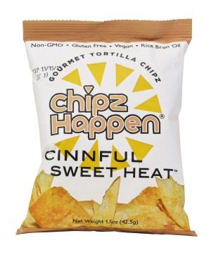 Chipz Happen Cinnful Sweet Heat tortilla  chips bag.