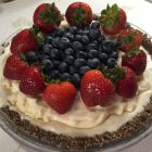 Ice Cream Pie with Power O's Crust topped with blueberries and strawberries.