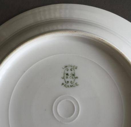 Back of soup bowl with Limoge stamp.