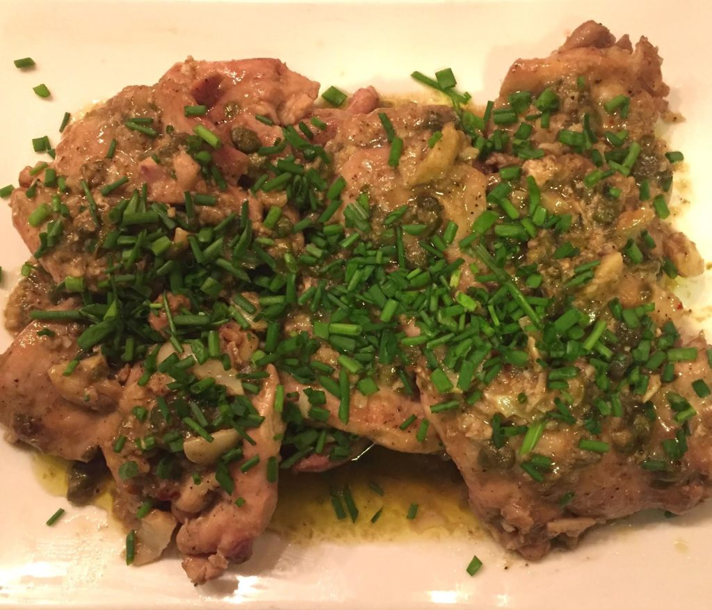Garlicky chicken with Lemon Anchovy Sauce overhead shot.