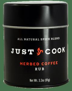 Just Cook Foods Herbed Coffee Rub in a black package.