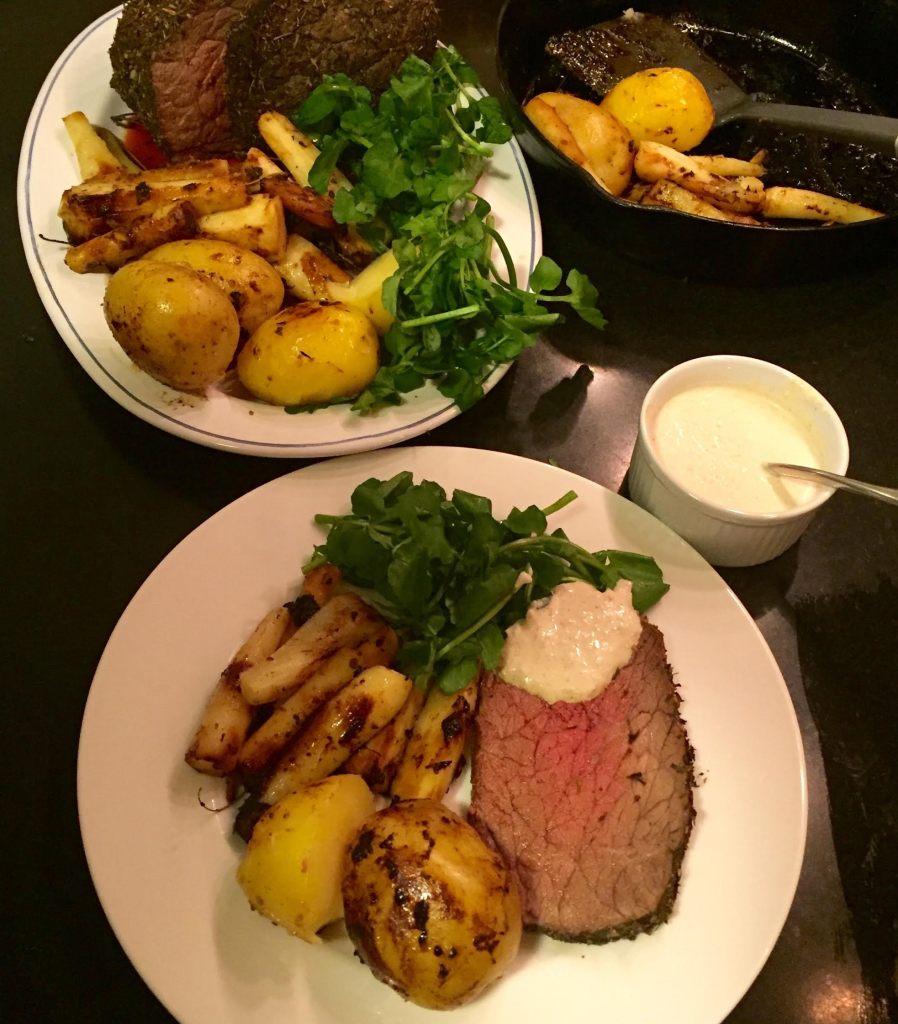 RawSpiceBar Winter Herb Rub on beef rump roast on platter and plated.