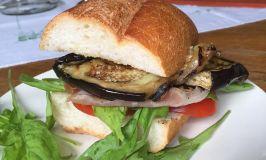 Joseph Joseph Rotary Peeler & Grilled Eggplant, Prosciutto, Tomato & Arugula Sandwiches