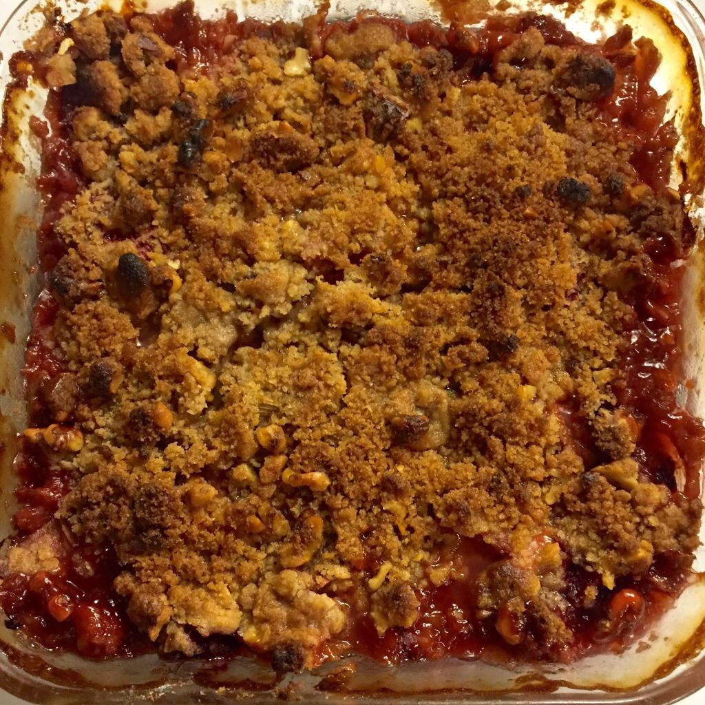 Strawberry and Rhubarb Crisp just out of the oven