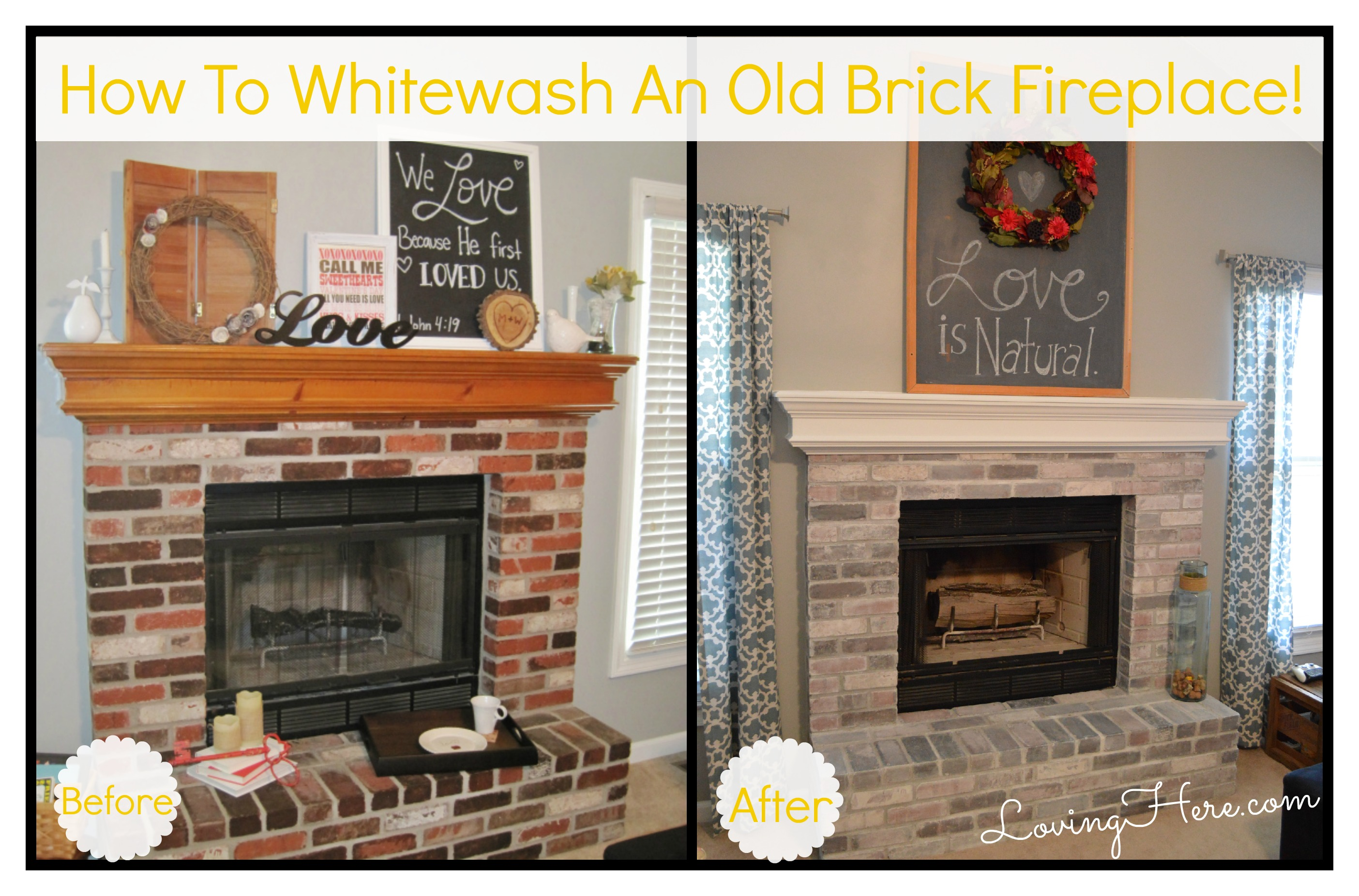 to paint or not to paint no longer a question whitewashing our brick fireplaceloving here. Black Bedroom Furniture Sets. Home Design Ideas