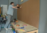 Installing pegboard in garage workbench 4