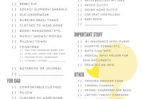 hospital packing list printable duck design