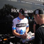 Garmin-Cervelo's Julian Dean signing my copy of L'Équipe