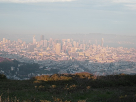 San Francisco hazy sunset from Twin Peaks (geographic center of the city) today