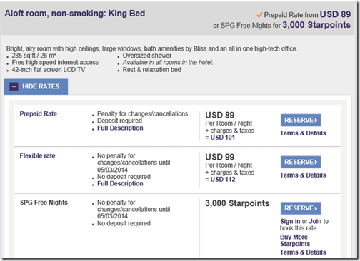 JAX Aloft SPG rate