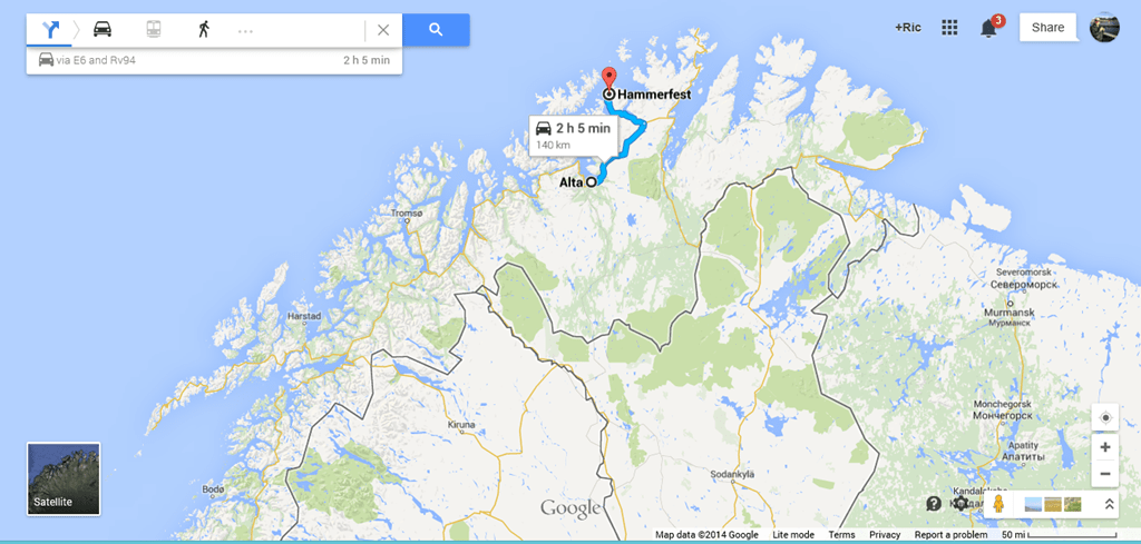 Hammerfest Norway  City new picture : Google Maps Alta to Hammerfest, Norway is 140 km.