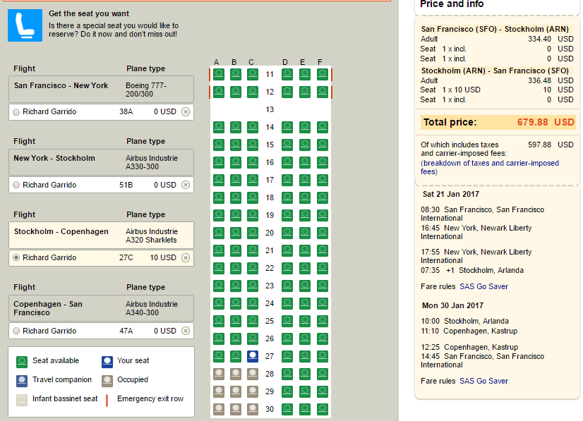 Seat assignments
