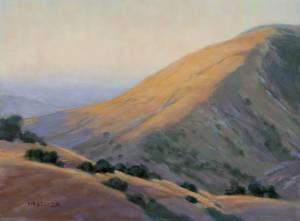 """Evening Creeping up Figueroa Mountain"" Nancy Becker, oil on canvas, 12"" x 16"" $995"